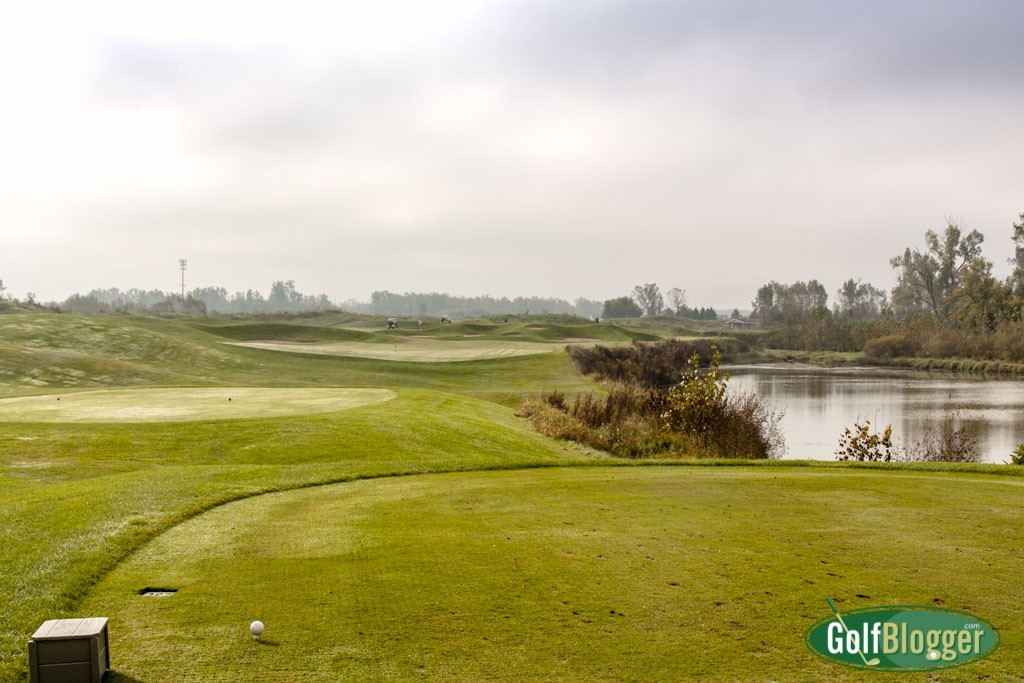 The third at Eagle Eye is a 331 yard par 4 with a hooked fairway.