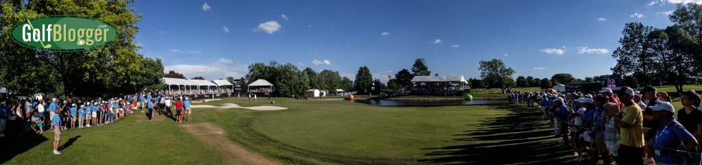 A Panoramic view of the 72nd hole of the championship.