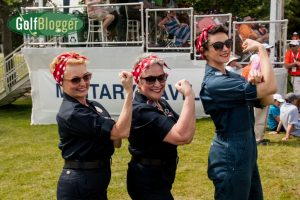 """""""Rosie The Riveters"""" at the ninth hole at the Volvik Championship."""