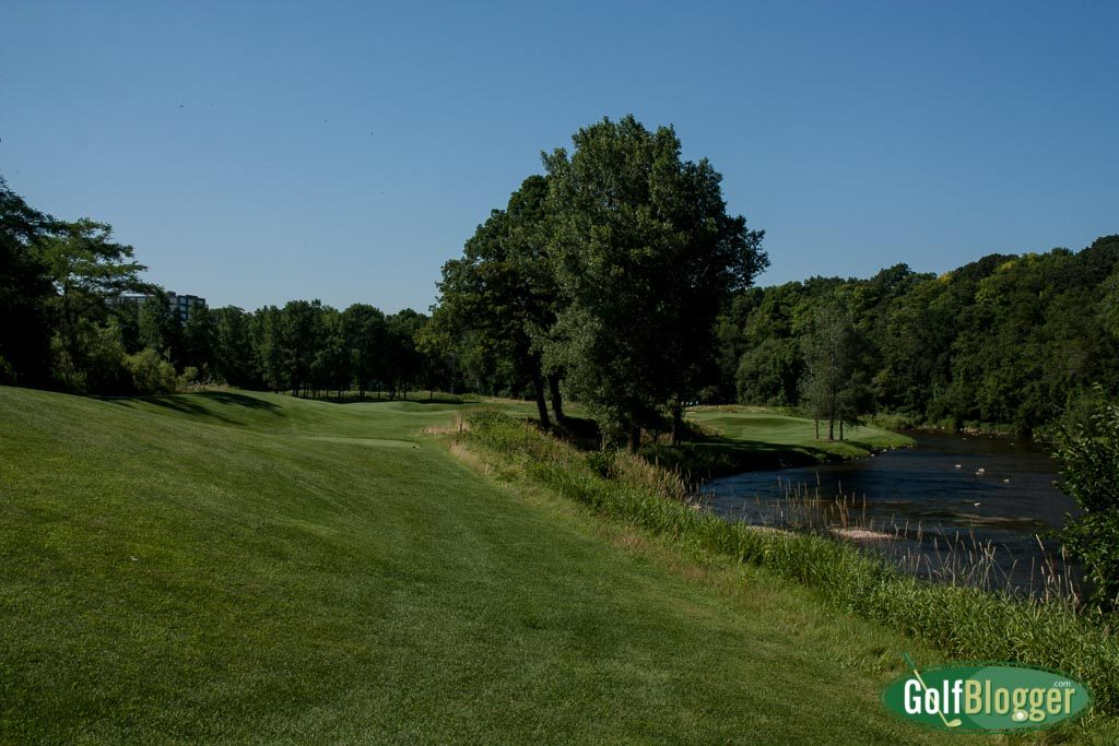 The ninth at the Blackwolf Run River Course is a 361 (302) yard par 4.