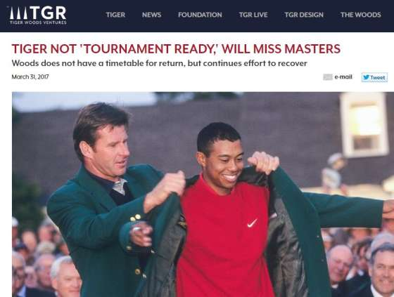 Tiger will not play The Masters in 2017