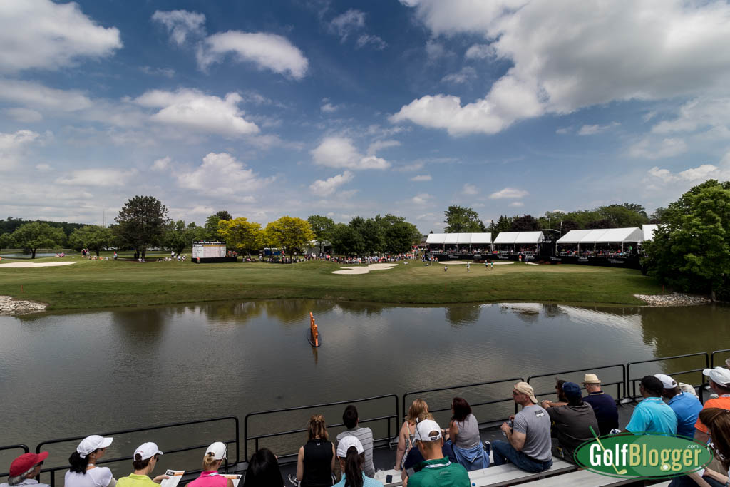 The view from the Tito's Vodka grandstands opposite the 18th green