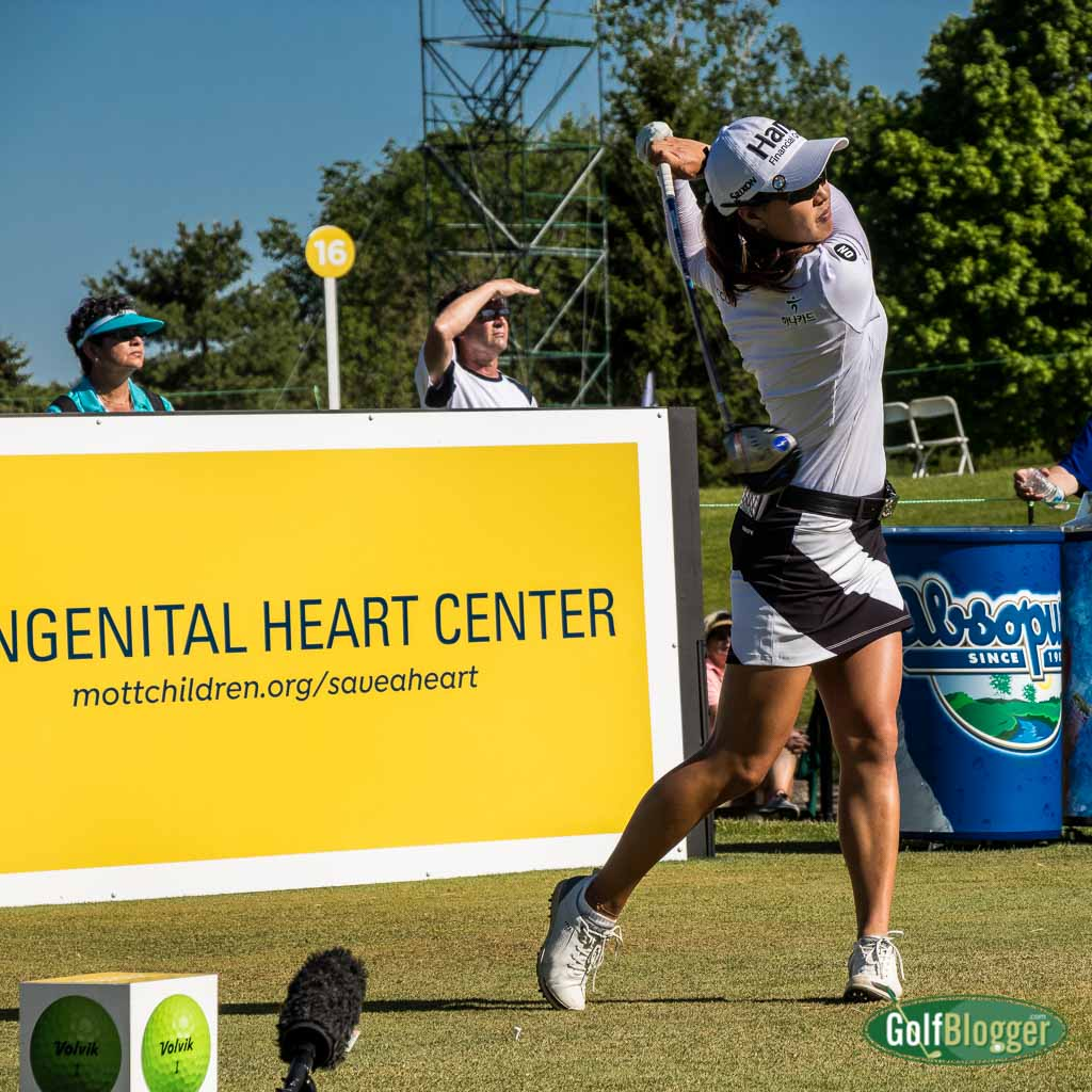 Minjee Lee hits her tee shot on the 17th enroute to second place after two rounds at the LPGA Volvik Championship.