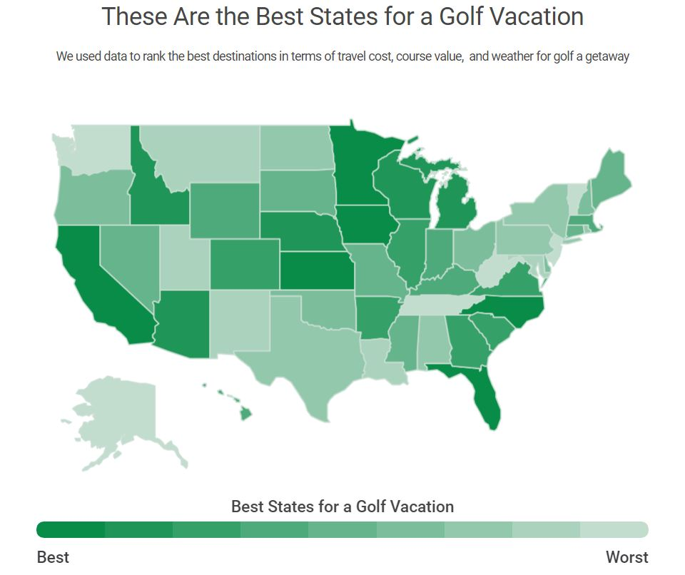 best states for a golf vacation