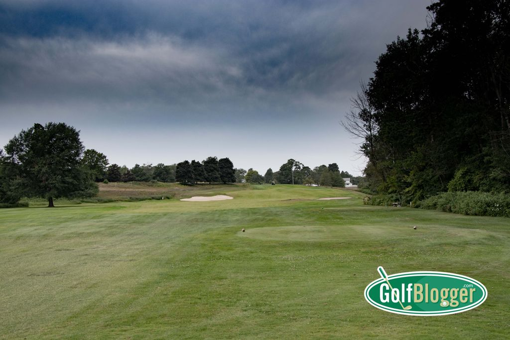 The sixteenth at Belvedere is a tough, short par 4, with a green complex set in the side of a hill.