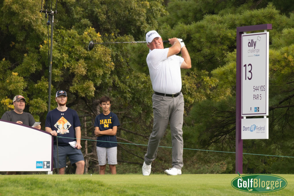 Mark O'Meara tees off at the Ally Challenge