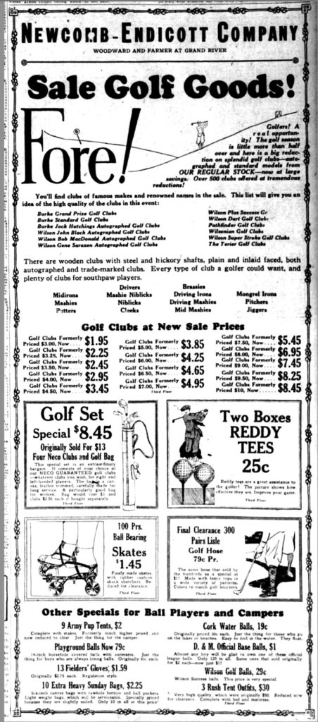 Michigan Department Store Golf Equipment Ad From 1925